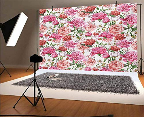 Watercolor Flower 15x10 FT Vinyl Photography Background Backdrops,Victorian Floral Pattern Painting Style Print with Peonies and Roses Background for Photo Backdrop Studio Props Photo Backdrop Wall