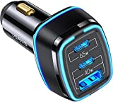 105W USB C Car Charger,3 Port PPS PD 65W 20W Type C Super Fast Charging QC3.0 20W Cigarette Lighter Fast USB Car Adapter for iPhone 12 Pro Max Samsung S21 S20 S10 A52 Note 20 Android Laptop Tablet