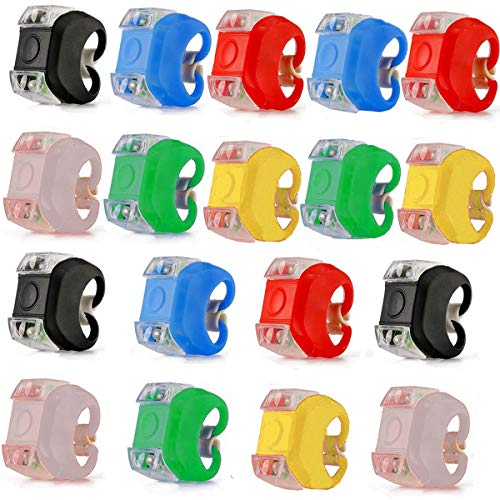 Fiyuer led Bicicleta luz Sets 18 Pcs Luces Silicona Bicicleta Bici Bicycle Bike Lights led para Corredores Mascotas Colores Surtidos