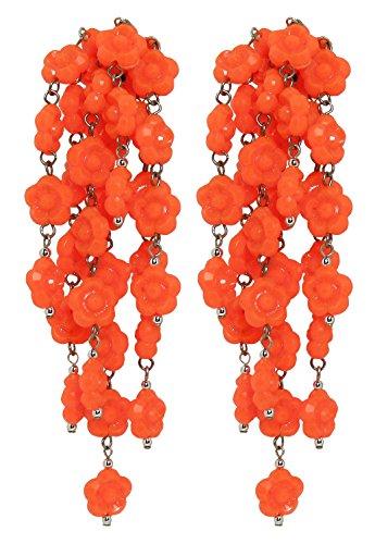 Vintage Orange - Orecchini con clips, senza buco, 7 pendenti di fiorellini Arancione, in resina, originali anni 60, nickel free, lunghezza cm. 9