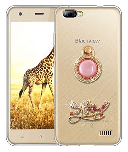 Sunrive Für Blackview A7 Hülle Silikon, Glitzer Diamant Strass Transparent Handyhülle Schutzhülle 3D Etui handycase Case (Schmetterling) MEHRWEG