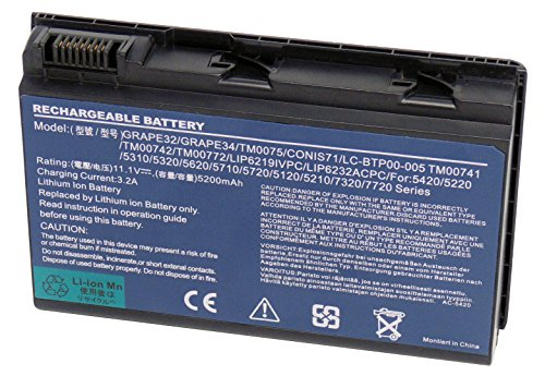 Sostituire per batteria per portatile 11.1V 5200mAh GRAPE32 GRAPE42 TM00741 TM00751 CONIS71 per Acer Extensa 5210 5220 5230 Gateway NS50 Acer TravelMate 5220 5520 5310 5320