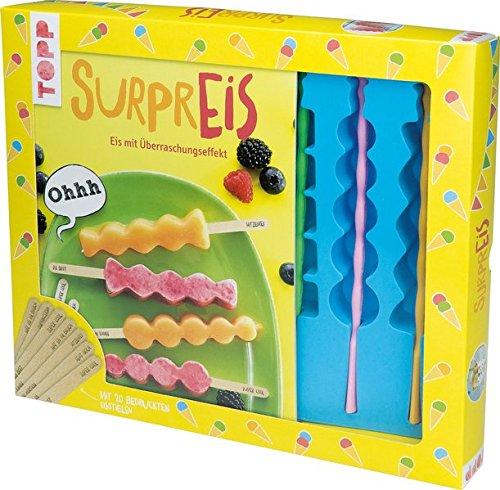 Kreativ-Set SurprEIS: Buch mit Eisrezepten, Eisform und 3 Plastikstiele für Stieleis und 20 bedruckte Holzeisstiele mit 5 Überraschungsbotschaften (Buch plus Material)