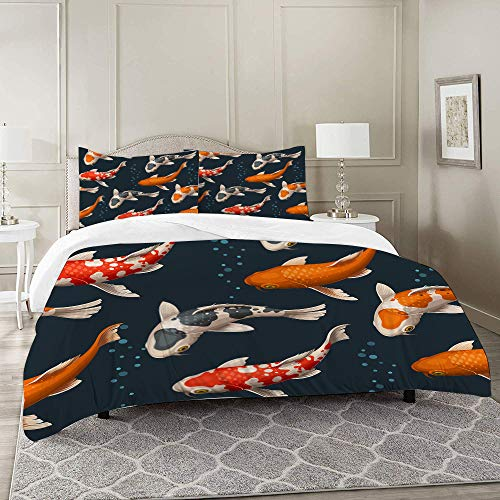 DARREOO Duvet Cover Set-Bedding,Colorful Chinese Koi Carps Red Animal Aquatic Asian China Eastern Fish Flowing,for Single Double King Bed/Made of Ultra-Soft Microfiber