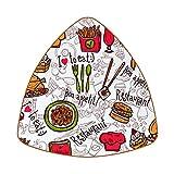 Posavasos triangulares para bebidas, bocetos, hamburguesas, patatas fritas, pasta, de cuero, para proteger muebles, resistente al calor, decoración de bar de cocina, juego de 6