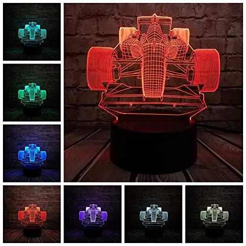 DFDLNL Coche de Carreras Lámpara 3D Bombilla Led USB Mesa Luz Nocturna Iluminación RGB Luminaria Interruptor de Navidad Touch