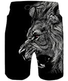 Loveternal Designer Black Lion Swimming Trunks for Men Cool 3D...