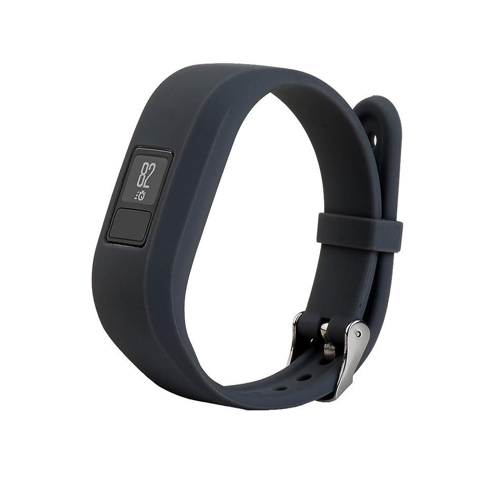 発疹反動球状Lovoski  軽量 調節可能 シリコン リストバンド 腕時計バンドストラップ バックル付き Garmin Vivofit3 対応 - グレー