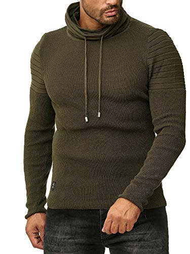 Red Bridge Herren Strickpullover Rollkragen- Pullover Shoulder Lines Khaki XXL