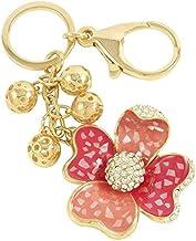 Crystal keychain flower pink