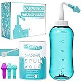 kit de douche nasale · 120x sel de rinçage nasal (300g) · sel de douche nasal · 3 accessoires pour adultes et enfants · pot de rinçage nasal premium · nettoyage nasal · tampen hygiene