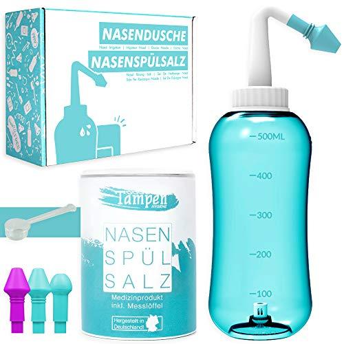 Nasendusche Set · 120x Nasenspülsalz (300g) · Messlöffel (1g) · 3 Aufsätze für Erwachsene & Kinder · Tampen Hygiene · Premium Nasenspülung · Nasenspülkanne · Nasenreinigung