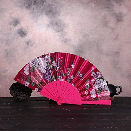 LXTIN Abanico Plegable, abanicos de Mano de Seda de Verano, abanicos Grandes Chinos japoneses Plegables para Fiestas de Baile, Regalos de Boda, decoración de Bricolaje, decoración del ho