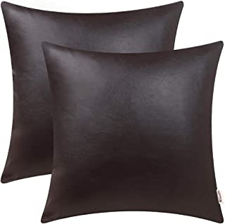 BRAWARM Pack of 2 Cozy Throw Pillow Covers Cases for Couch Sofa Bed Solid Faux Leather Soft Luxury Cushion Covers Both Sides Home Decoration 16 X 16 Inches Seal Brown