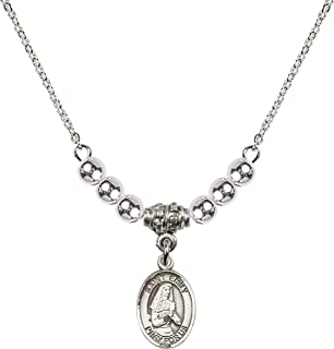 18-Inch Rhodium Plated Necklace with 4mm Garnet Birthstone Beads and Sterling Silver Saint Bernadette Charm.