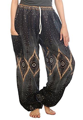 LOFBAZ Harem Pants for Women Yoga Boho Sweatpants Womens Hippie Bohemian Clothing Palazzo Beach Clothes Casual Pajama Diamond Black Large