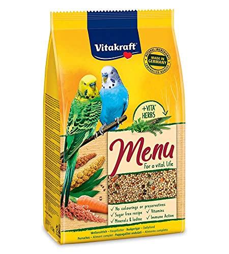Vitakraft - Menú Premium para Periquitos con Mezcla de Semillas y Granos, Alimento Principal - 1 kg