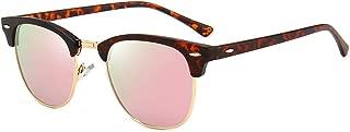 Classic Square Half Frame Sunglasses Mens Horn Rimmed Glasses for UV Eye Protection
