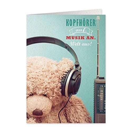 Sheepworld, Gruss & Co – 77546 – hopfällbart kort, retro nummer 47, hörlurar. Musik. Världen runt, med kuvert