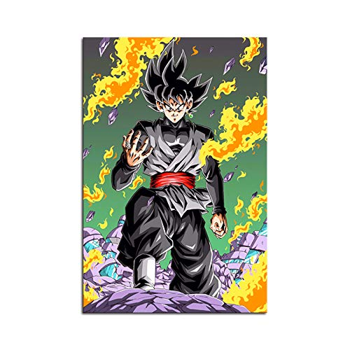 RINWUNS Wall Art Classic Anime Black Goku Poster Canvas Print Painting Giclee Artwork Picture Modern Home Decor for Living Room Bedroom Unframed 1 PC 16x24inch (Only Canvas)