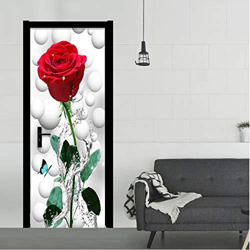 Puerta Mural Moderno 3D Estéreo Rojo Rosa Salón PVC Autoadhesivo Papel Pintado Arte Decoración Del Hogar 95 x 215 cm