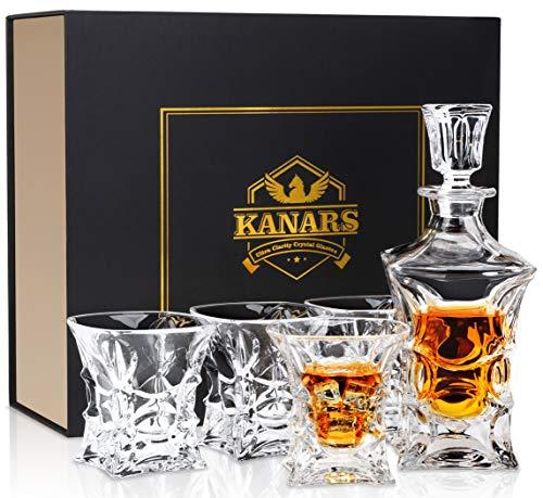 KANARS Bottiglie e Bicchieri Whisky, Decanter da Whiskey Cristallo, 450ml Bottiglia con 4X 230ml Bicchieri, Bellissimo Regalo, 5 Pezzi