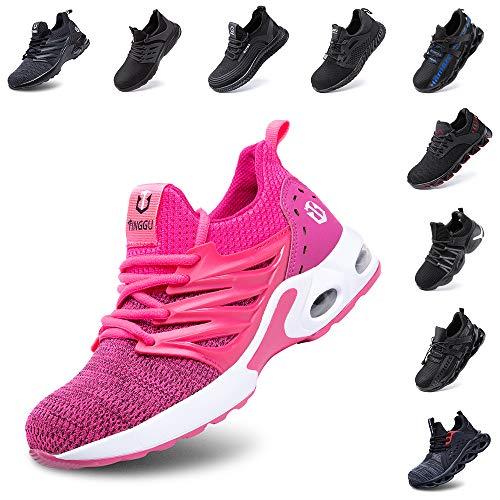 Hitmars Sicherheitsschuhe Herren Damen S3 Arbeitsschuhe Leicht Atmungsaktiv Sportlich Schuhe Stahlkappe Mesh Reflektierend Sneaker Pink 38 EU