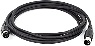 Monoprice MIDI Cable - 10 Feet - Black with Keyed 5-pin DIN Connector, Molded Connector Shells