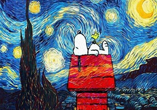 WDBZD Rompecabezas 1000 Piezas para Adultos Rompecabezas Clásico Madera Snoopy Bajo Las Estrellas Paisaje DIY Coleccionables Decoración Moderna para El Hogar Regalo