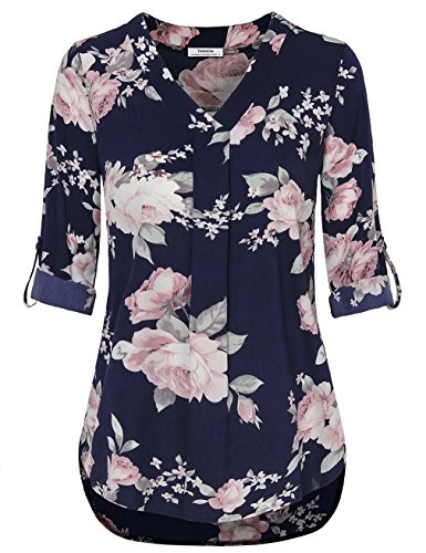 Youtalia Chiffon Tunics for Women, Ladies Floral Chiffon Shirts Long Sleeve V Neck Curved Hem Casual Tunic Top Multicolor Blue XX-Large