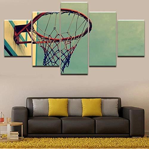 xhabbaa 5 Piezas De Impresiones De Arte De Pared En Lienzo Aro De Baloncesto Obra De Arte Lista para Colgar Arte En Lienzo para Decoración Del-30x40cm 30x60cm 30x80cm