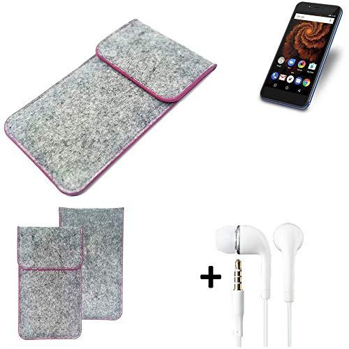 K-S-Trade® Filz Schutz Hülle Für Allview X4 Soul Mini S Schutzhülle Filztasche Pouch Tasche Case Sleeve Handyhülle Filzhülle Hellgrau Pinker Rand + Kopfhörer