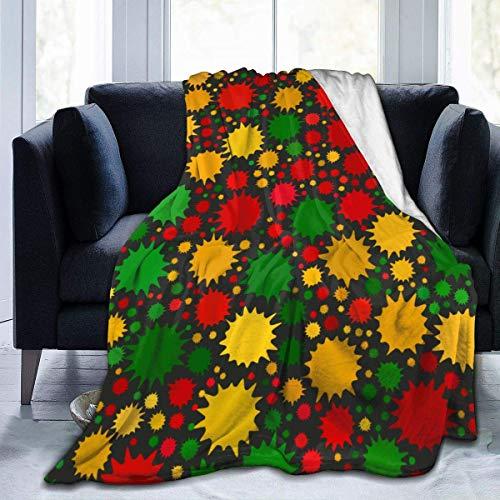 DayToy Rote, gelbe, grüne Reggae-Farben Helle Farbflecken auf schwarzem Licht Luxuriöse warme, Flauschige Plüschdecke