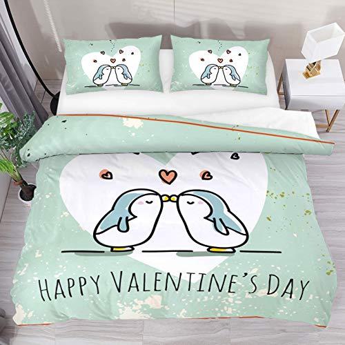 Día de San Valentín Pingüinos lindos Pareja Corazón Amor Ropa de cama Funda nórdica Juego de 3 piezas - Comf de microfibra doble ultra suaveFunda orter con cierre de cremallera y 2 fundas de almohada