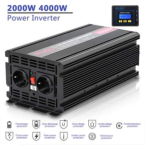 2000W 4000W Reiner Sinus KFZ Spannungswandler Konverter Wechselrichter 12V DC auf 230V AC Inverter Wechselrichter mit Externer Bildschirm, Dual USB-Ladegerät 4,2 A