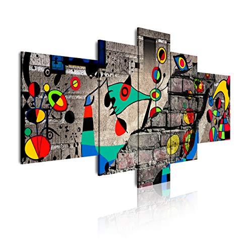 DekoArte 445 - Cuadros Modernos Impresión de Imagen Artística Digitalizada | Lienzo Decorativo Para Tu Salón o Dormitorio | Estilo Abstractos Moderno Arte Miró Colores Rojos | 5 Piezas 180 x 85 cm XXL