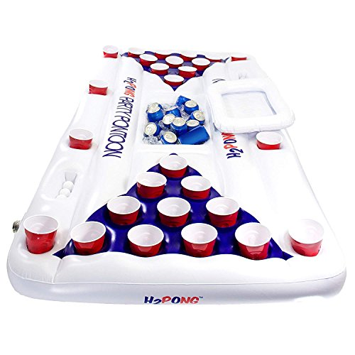 Play Platoon H2PONG Inflatable Beer Pong Raft With Cooler, Includes 5 Ping Pong Balls - Floating Pool Party Game Float...