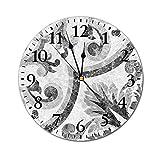 AEMAPE Reloj de Pared Redondo de mármol, Superficie de cerámica Victoriana de Estilo rococó Barroco con Ilustraciones de Shabby Chic en Forma de Remolino Reloj con Pilas