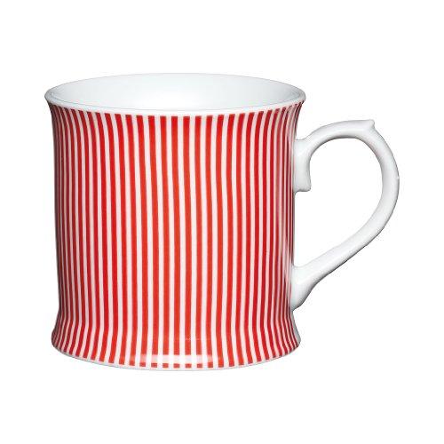 Kitchen Craft Mug en Porcelaine Fine avec Rayures Rouge