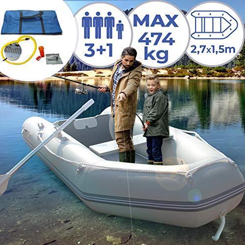 Jago Barca Hinchable para 3 Personas - 270 x 152 cm, con 2 Remos de...