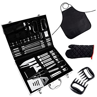 Ohuhu BBQ Tool Set, Grill Accessories Heavy Duty Stainless Steel, Barbecue Grill Utensils Set with Aluminium Case, Grilling Tools with Barbecue Claws Perfect BBQ Gift Set for Men Dad Women