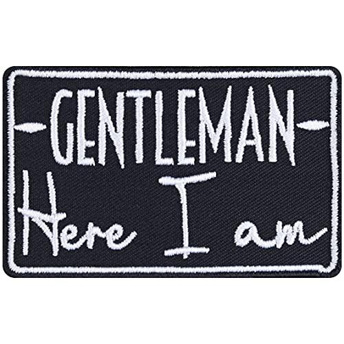 Parche de caballero – Here I am! Parche para planchar, imagen de caballero rockero, regalo para hombre, aplicación DIY para chaqueta/chaleco/jeans/maleta de moto, 80 x 50 mm