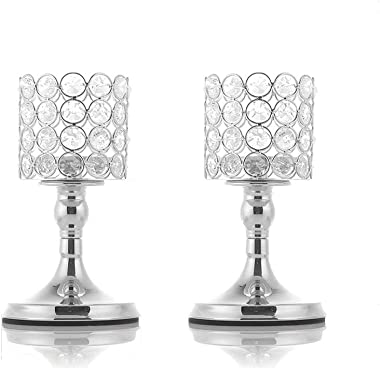 VINCIGANT Bougeoir en Cristal Cylindre Argenté pour Décoration Table Design Decor Fête Salle à Manger,20cm&20cm