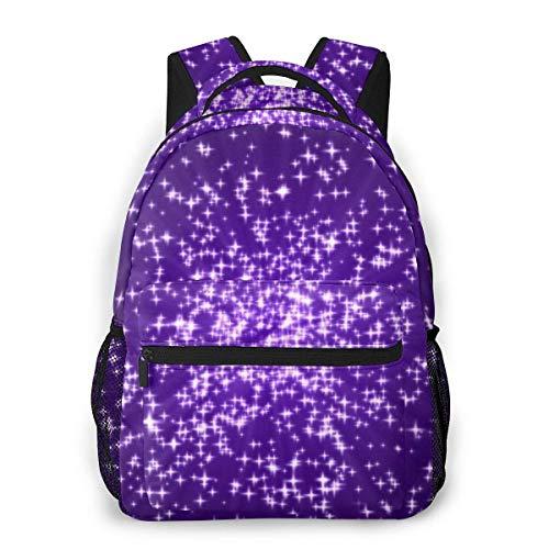 Lawenp Fashion Unisex Backpack Stars Explosion On Violet Background Bookbag Lightweight Laptop Bag for School Travel Outdoor Camping