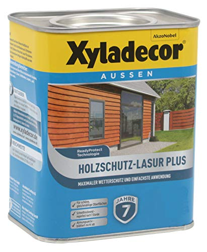 Xyladecor Holzschutz-Lasur Plus wasserbasierte Holzlasur für aussen in verschiedenen Farbtönen und Größen (4L, nussbaum)