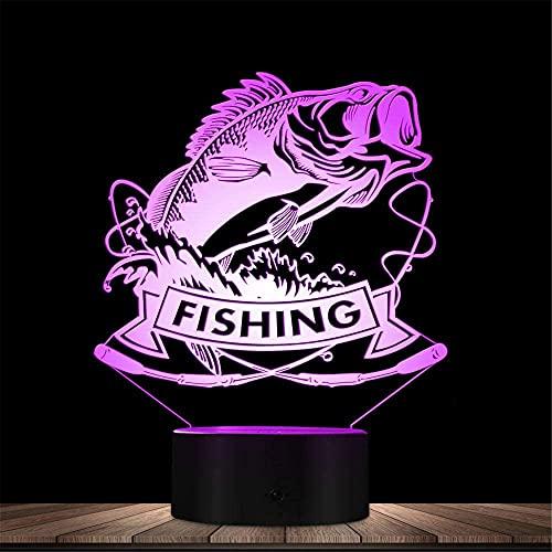 Pesca 3D noche luz de noche niños luz LED mesa escritorio lámpara decoración luz con control remoto para niños Navidad Halloween cumpleaños