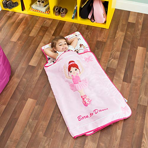 Everyday Kids Toddler Nap Mat with Removable Pillow -Born to Dance Ballerina- Carry Handle with Straps Closure, Rollup Design, Soft Microfiber for Preschool, Daycare, Sleeping Bag - Ages 2-4 Years