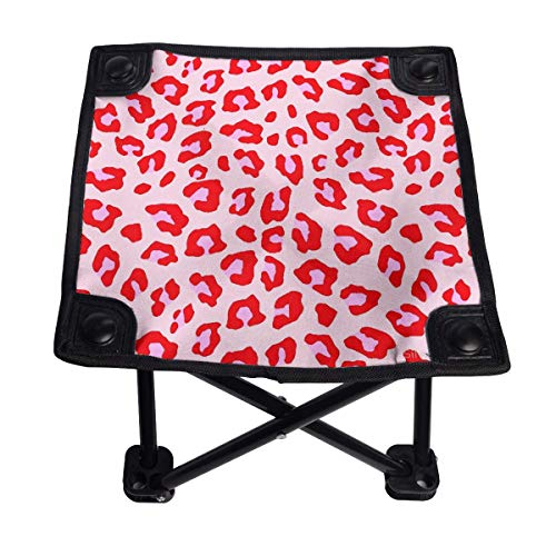 Becolc Foldable Camping Chair,Leopard Print Red and Pink Portable Four-Corner Stool for Camping,Backpacking,Hiking,Travel,FishingBeach,BBQ 11 inch
