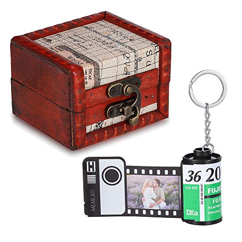 ALBERTBAND Personalisiert Schlüsselanhänger mit Eigenem Foto Gravur Bedrucken mit 8/10/15 Stück Buntem Fotofilm-Rollen Schlüsselbund Geschenk für Weihnachten Geburtstag (FilmRoll+Vintage Box-10pcs)