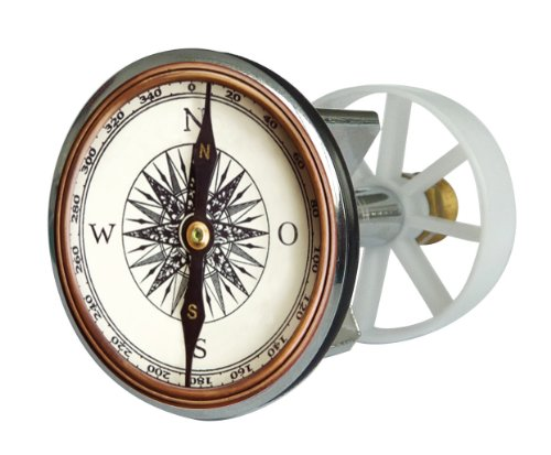 Waschbeckenstöpsel Design Kompass , Abfluss-Stopfen aus Metall , Excenterstopfen , Abflussstöpsel , 38 – 40 mm , Stöpsel